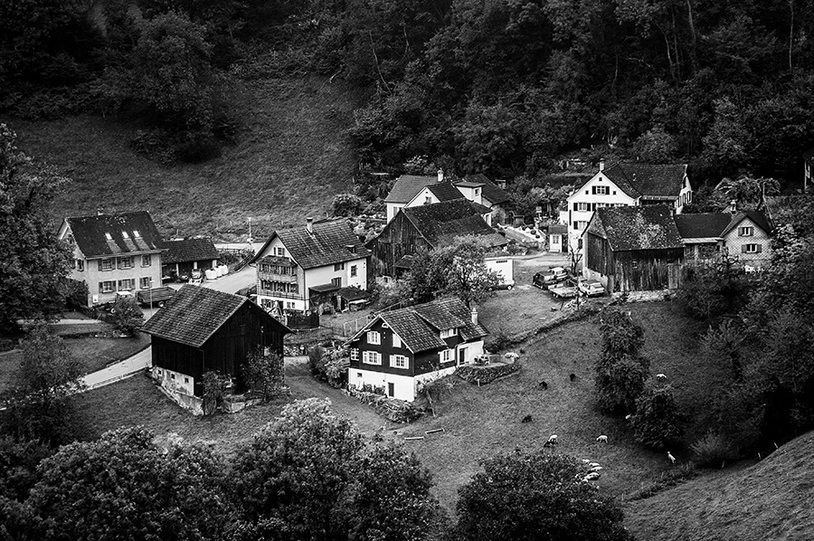 Swiss Mountain Village - 20 x 30 giclée on canvas (unmounted) by Tanner Young