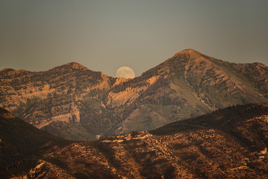 Moonrise between the Peaks - 16 x 24 giclée on canvas (pre-mounted) by Tanner Young