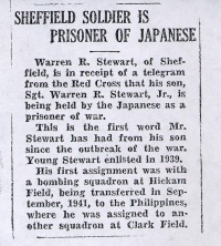 Newspaper Clipping: Sheffield soldier is a prisoner of the Japanese