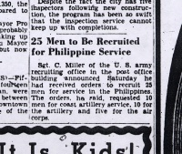 Newspaper Clipping: 25 Men to Be Recruited for Philippine Service
