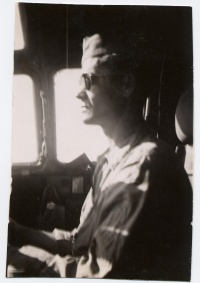 Alfred R. Young in Co-pilot seat of a B29