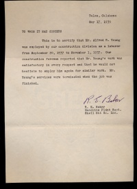 Letter of recommendataion for Alfred R. Young