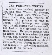 Newspaper Clipping: Japanese prisoner writes, no. 1