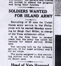 Newspaper Clipping: Soldiers Wanted For Island Army