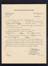 Alfred R. Young Enlistment Letter