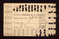 Voyage Meal Ticket from the U.S.S. General W. C. Langfitt