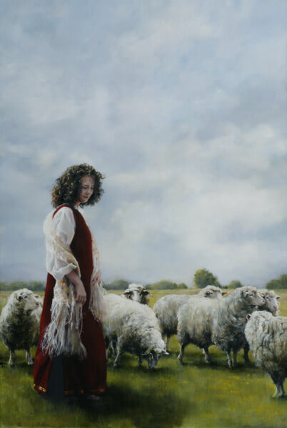 With Her Father's Sheep - Original oil painting by Elspeth Young