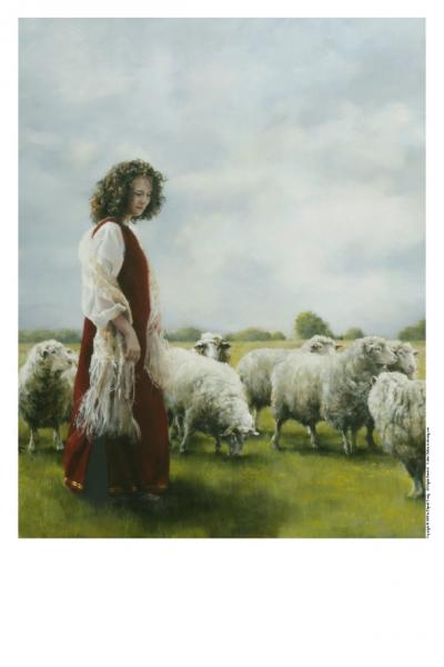 With Her Father's Sheep - 11 x 14 print by Elspeth Young