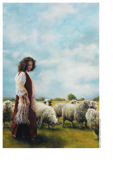 With Her Father's Sheep - 9 x 13.5 print by Elspeth Young