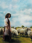 With Her Father's Sheep - 18 x 24 print