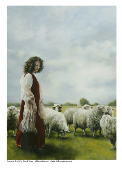 With Her Father's Sheep - 5 x 7 print by Elspeth Young