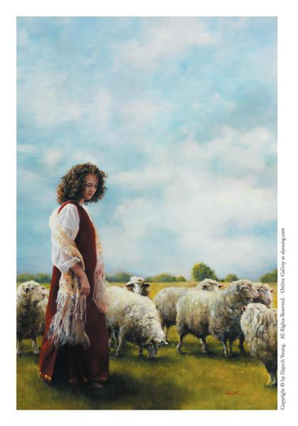 With Her Father's Sheep - 4 x 6 print by Elspeth Young