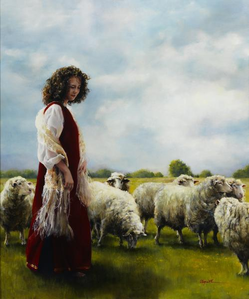With Her Father's Sheep - 20 x 24 giclée on canvas (unmounted) by Elspeth Young