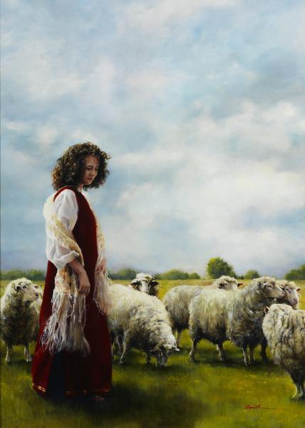 With Her Father's Sheep - 20 x 28 giclée on canvas (unmounted) by Elspeth Young