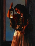 A Damsel Came To Hearken - 14 x 18 giclée on canvas (pre-mounted)