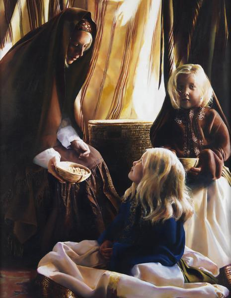 The Daughters Of Zelophehad - 14 x 18 giclée on canvas (pre-mounted) by Elspeth Young