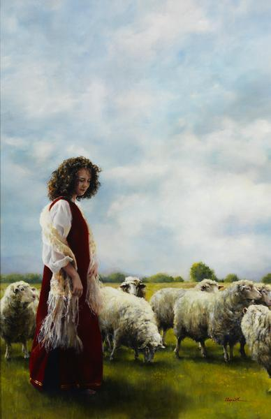With Her Father's Sheep - 11 x 17 giclée on canvas (pre-mounted) by Elspeth Young
