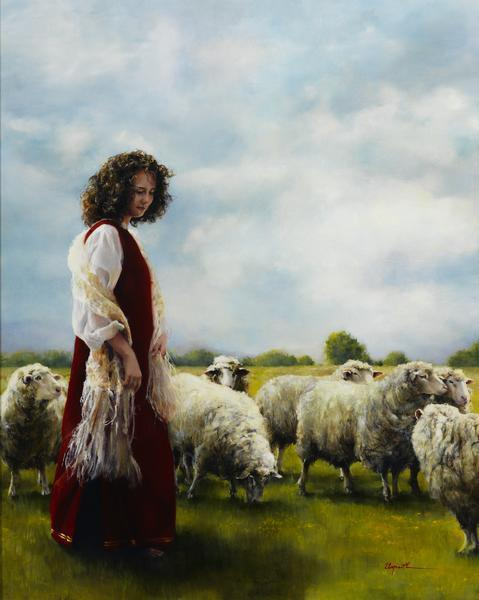 With Her Father's Sheep - 16 x 20 giclée on canvas (pre-mounted) by Elspeth Young