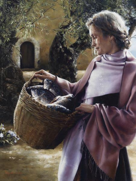 And Martha Served - 18 x 24 giclée on canvas (pre-mounted) by Elspeth Young