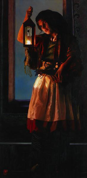 A Damsel Came To Hearken - 9 x 18.25 giclée on canvas (pre-mounted) by Ashton Young