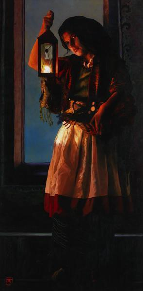 A Damsel Came To Hearken - 20 x 40.75 giclée on canvas (unmounted) by Ashton Young