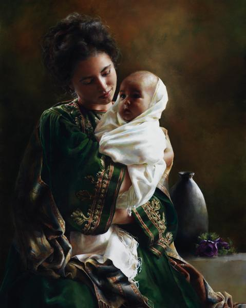 Bearing A Child In Her Arms - 8 x 10 giclée on canvas (pre-mounted) by Elspeth Young