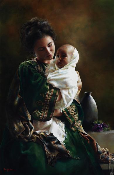 Bearing A Child In Her Arms - 11 x 17 giclée on canvas (pre-mounted) by Elspeth Young