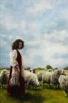 With Her Father's Sheep - 18 x 27.25 giclée on canvas (unmounted)