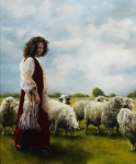With Her Father's Sheep - 20 x 24 giclée on canvas (unmounted)