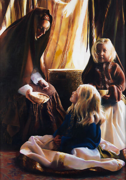 The Daughters Of Zelophehad - 14 x 20 giclée on canvas (pre-mounted) by Elspeth Young