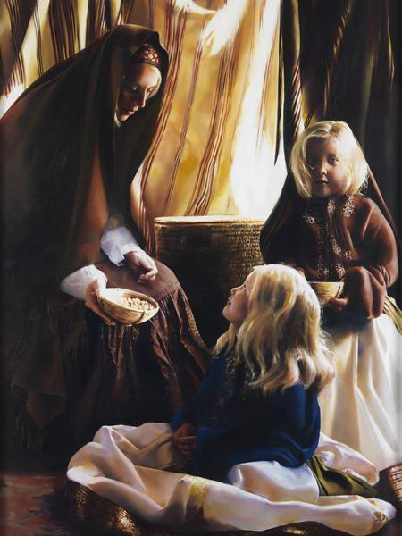 The Daughters Of Zelophehad - 12 x 16 giclée on canvas (pre-mounted) by Elspeth Young