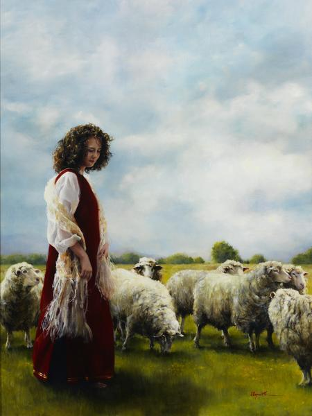 With Her Father's Sheep - 18 x 24 giclée on canvas (pre-mounted) by Elspeth Young