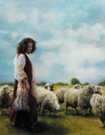 With Her Father's Sheep - 14 x 18 print
