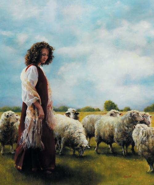 With Her Father's Sheep - 20 x 24 print by Elspeth Young
