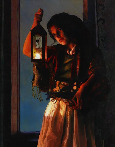A Damsel Came To Hearken - 11 x 14 giclée on canvas (pre-mounted) by Ashton Young