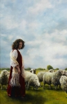 With Her Father's Sheep - 11 x 17 giclée on canvas (pre-mounted)
