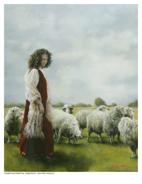 With Her Father's Sheep - 8 x 10 print by Elspeth Young