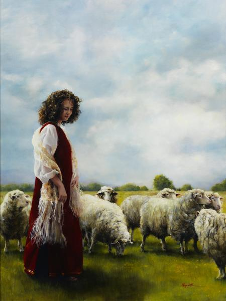 With Her Father's Sheep - 12 x 16 giclée on canvas (pre-mounted) by Elspeth Young