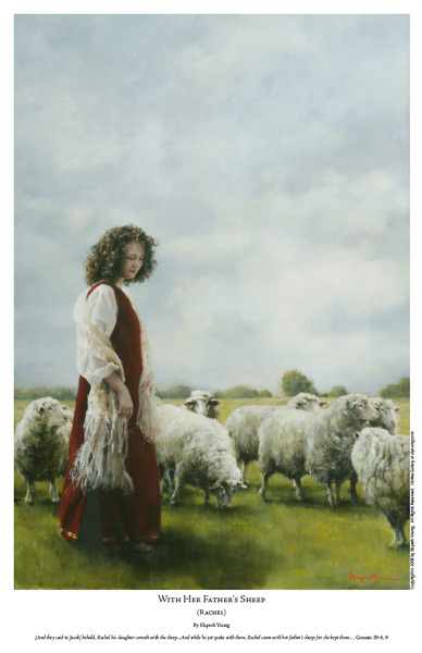 With Her Father's Sheep - 11 x 17 print by Elspeth Young