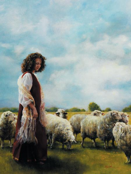 With Her Father's Sheep - 12 x 16 print by Elspeth Young