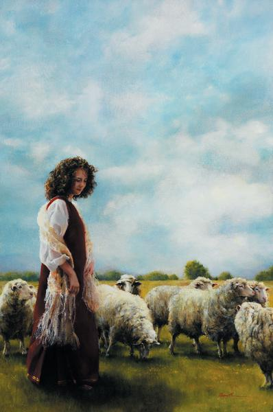 With Her Father's Sheep - 12 x 18 print by Elspeth Young