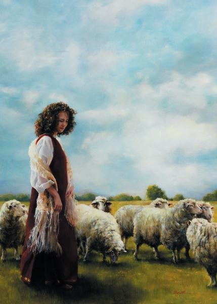 With Her Father's Sheep - 20 x 28 print by Elspeth Young