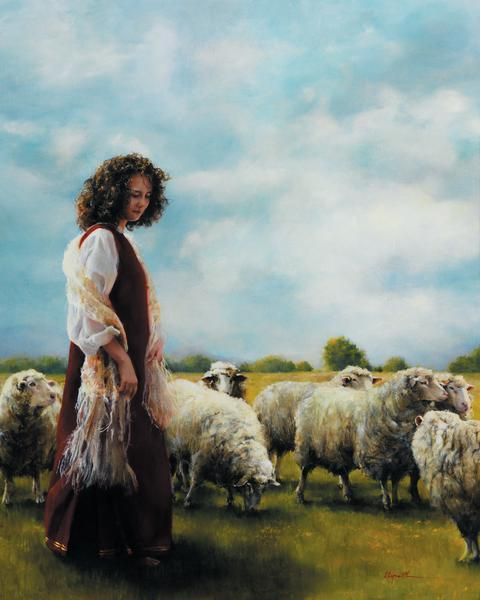 With Her Father's Sheep - 24 x 30 print by Elspeth Young