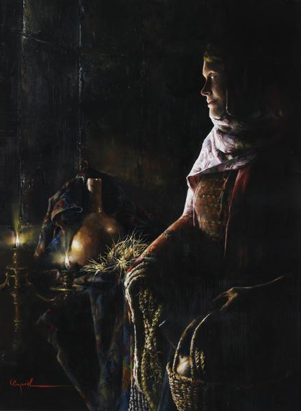 A Lamp Unto My Feet - 18 x 24.5 giclée on canvas (unmounted) by Elspeth Young