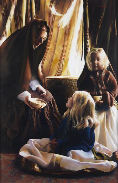 The Daughters Of Zelophehad - 6 x 9.25 giclée on canvas (pre-mounted) by Elspeth Young