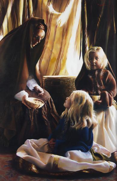 The Daughters Of Zelophehad - 11 x 17 giclée on canvas (pre-mounted) by Elspeth Young