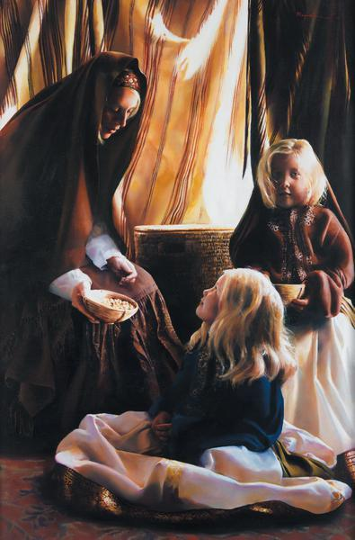 The Daughters Of Zelophehad - 12 x 18.25 print by Elspeth Young
