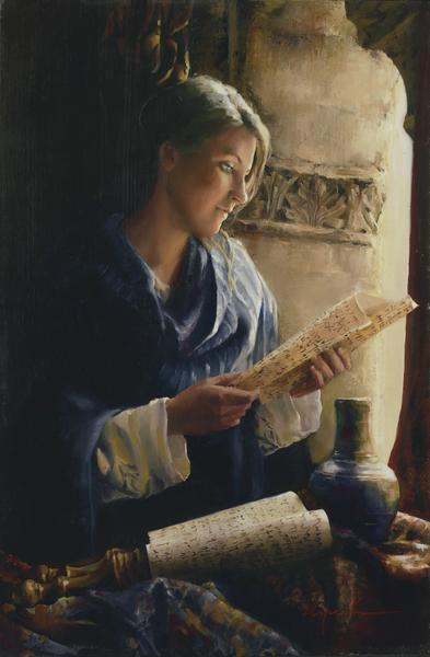 Treasure The Word - 6 x 9.25 giclée on canvas (pre-mounted) by Elspeth Young