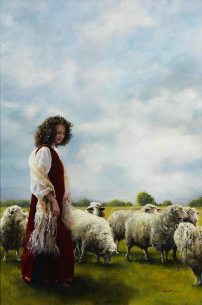 With Her Father's Sheep - 9 x 13.5 giclée on canvas (pre-mounted) by Elspeth Young
