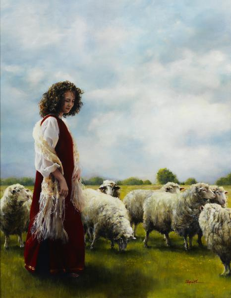 With Her Father's Sheep - 14 x 18 giclée on canvas (pre-mounted) by Elspeth Young